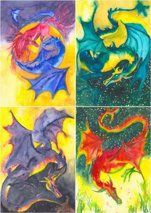 Drache/Einhorn YinYang, Drache türkis, Drache violett, Drache rot, Textilbilder